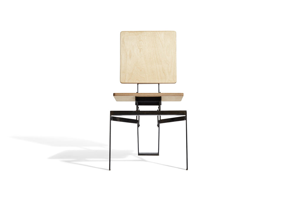 modern steel and wood folding chair