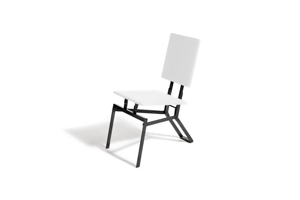 black and white folding chair