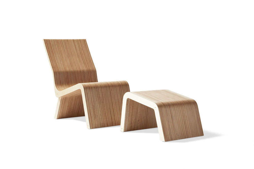 modern lounge chair and ottoman front view