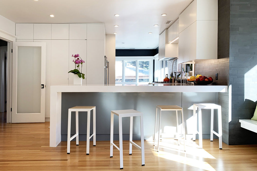 modern white counter stools  in white kitchen