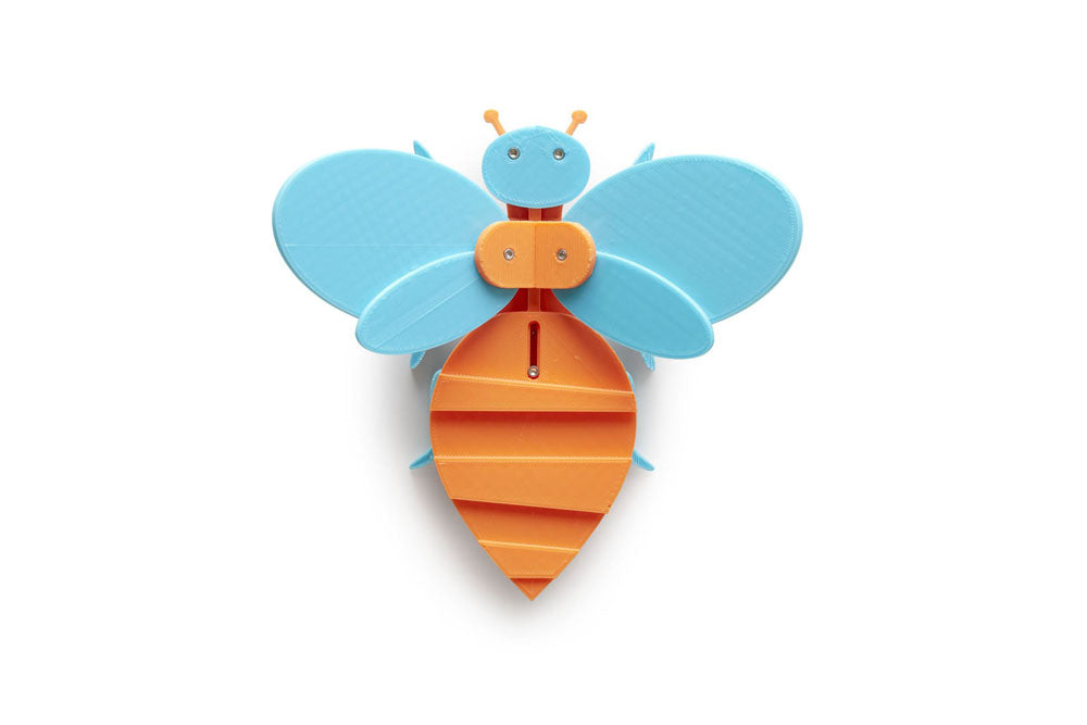 sculptural toy bee, orange and blue