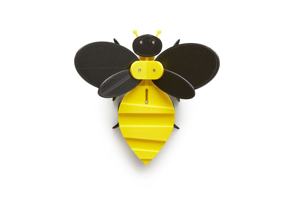 black and yellow toy bee