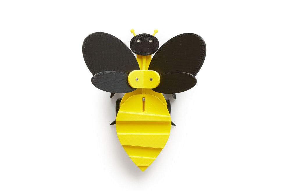 black and yellow bee flapping