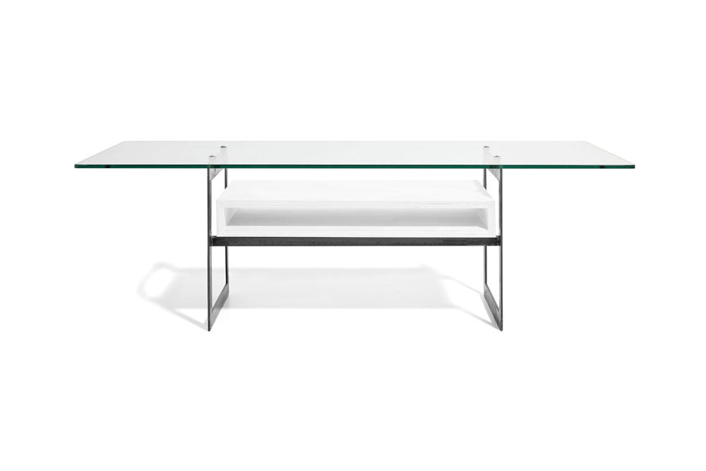 steel, white, and glass coffee table