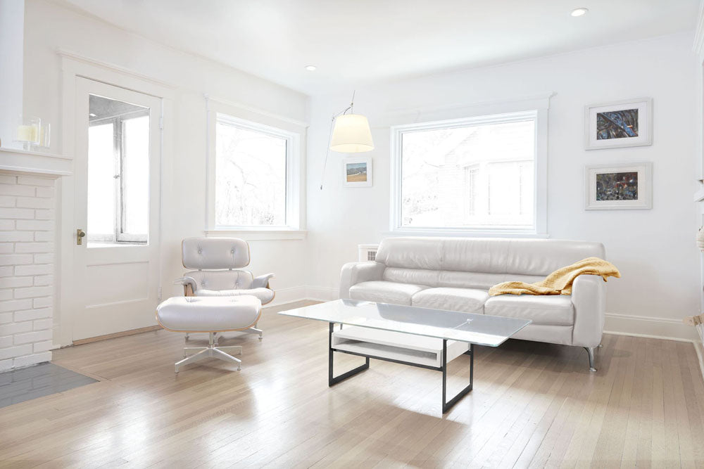 white coffee table in white room