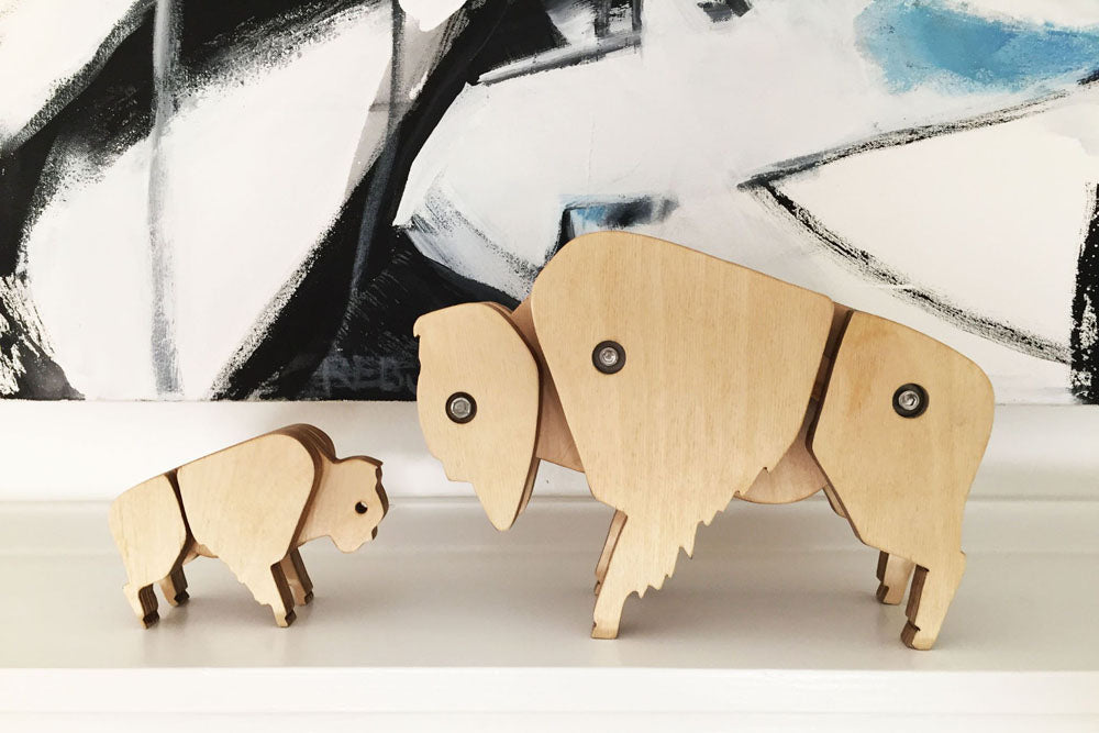 Sculptural wood bison