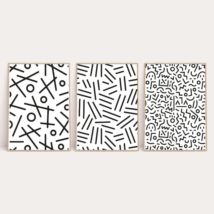 Simple Abstract Set Of 3 Line Bedroom Wall Decor Prints