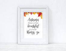 Autumn Shows Us How Leaf Border Autumn Seasonal Wall Home Decor Print