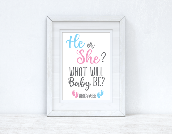 He Or She? What Will Baby Be? Custom #Last Name Baby Announcement Unisex Simple Room Wall Decor Print