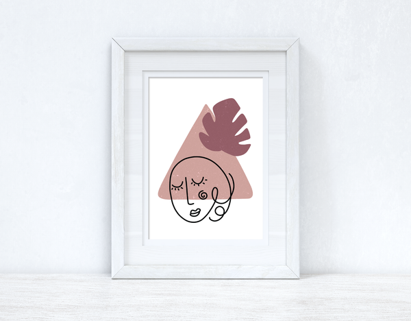Blush Pinks Face Abstract 3 Colour Shapes Home Wall Decor Print
