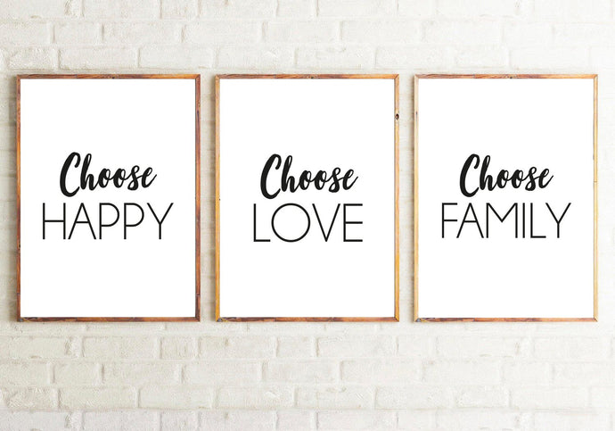 Choose To Be Happy Love & Family Set Of 3 Home Bedroom Wall Decor Prints