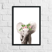 Elephant Wild Animal Floral Nursery Children's Room Wall Decor Print