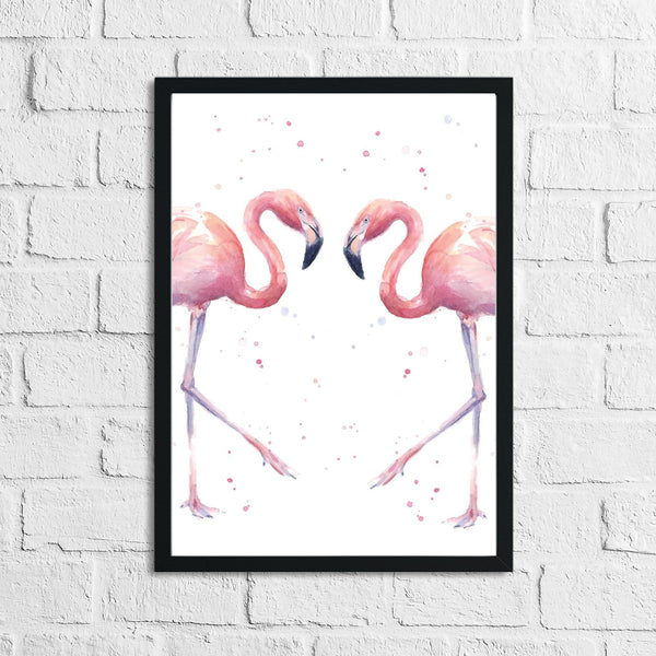Pink Watercolour Flamingos Home Bedroom Living Room Wall Decor Print