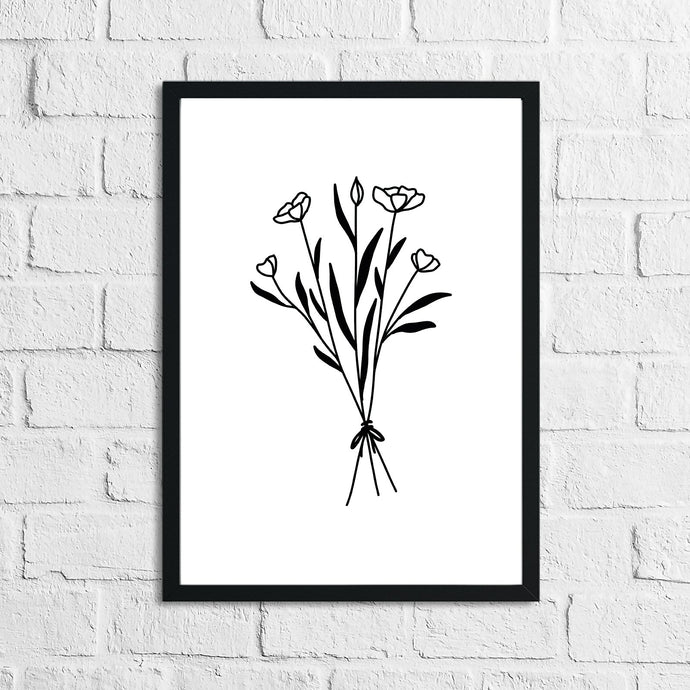 Flower 1 Simple Line Work Bedroom Home Wall Decor Print