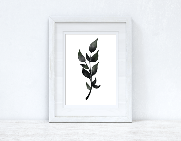 Green & Black Watercolour Leaf 3 Bedroom Home Wall Decor Print