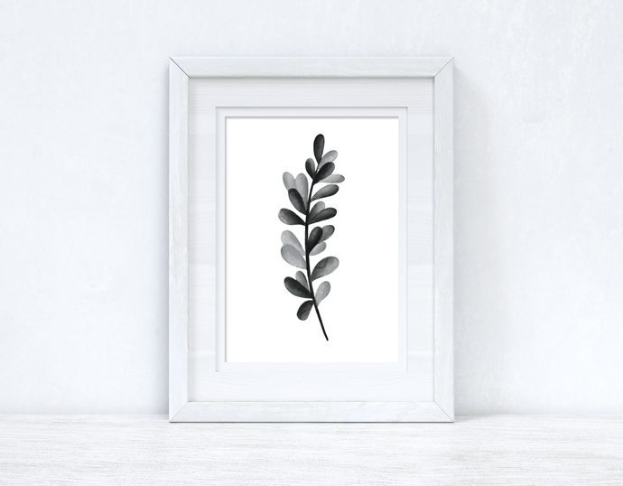 Grey Black Watercolour Leaf Bedroom Home Wall Decor Print