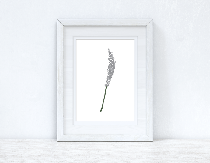 Grey Green Watercolour Flower 1 Bedroom Home Wall Decor Print