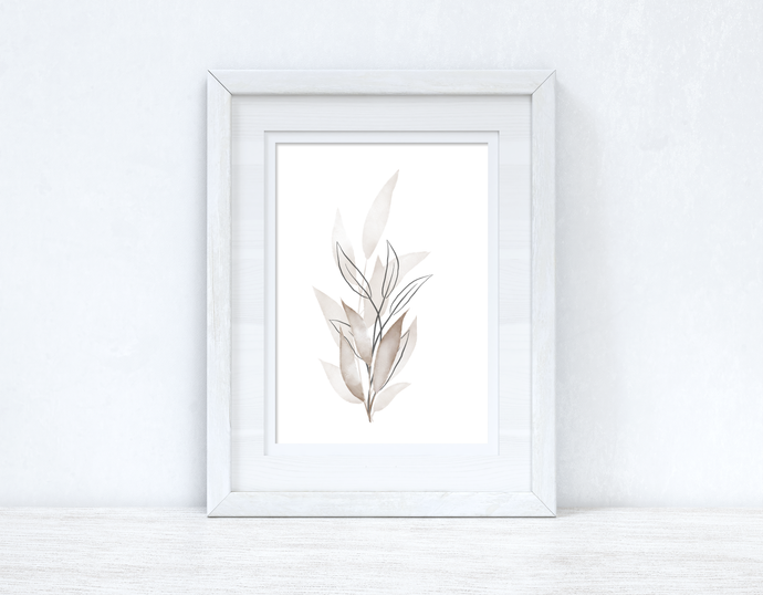 Greys & Naturals Watercolour Leaves Bedroom Home Wall Decor Print