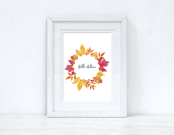 Hello Autumn Wreath Autumn Seasonal Wall Home Decor Print