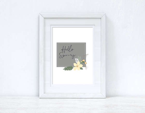 Hello Spring Floral Grey Spring Seasonal Wall Home Decor Print