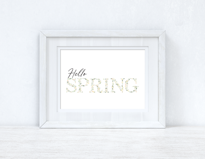 Hello Spring Landscape Floral Letters Spring Seasonal Wall Home Decor Print