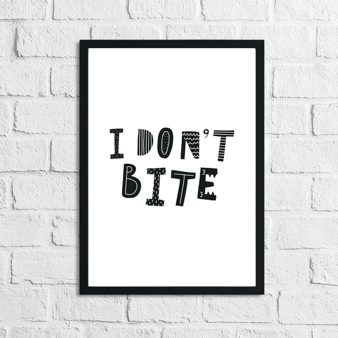 Scandinavian I Don't Bite Children's Nursery Bedroom Wall Decor Print