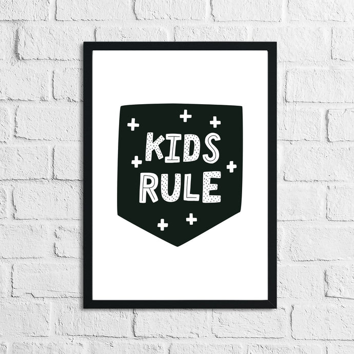 Scandinavian Kid's Rule Children's Nursery Bedroom Wall Decor Print