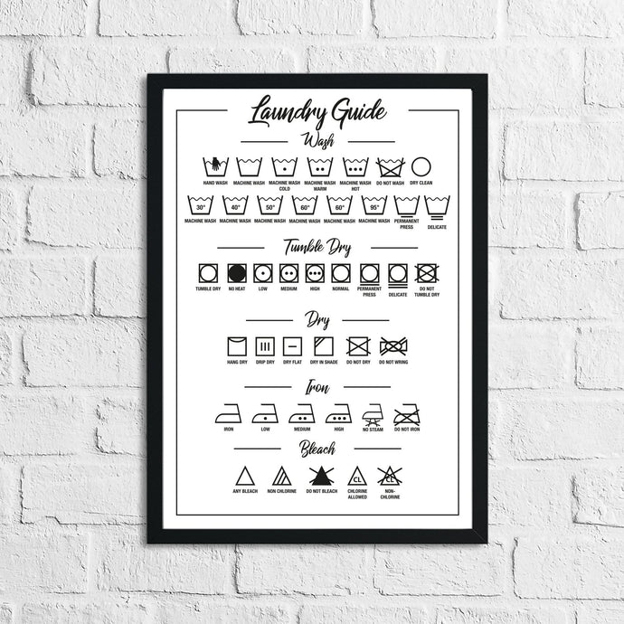 Laundry Guide Simple Wall Decor Print