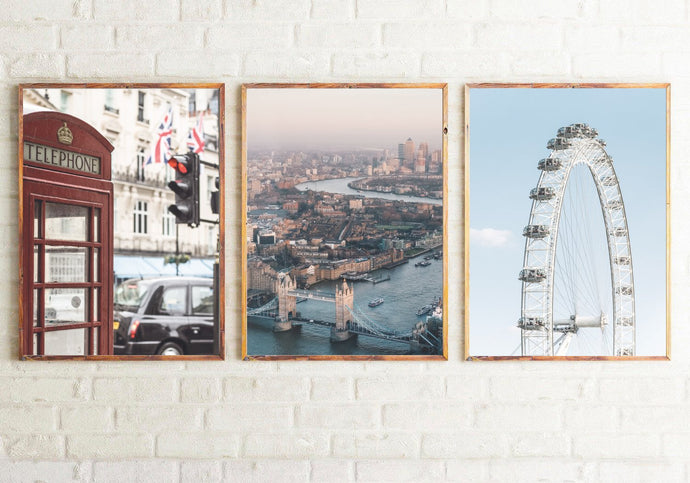 London Photography Room Simple Wall Decor 3 Print Set