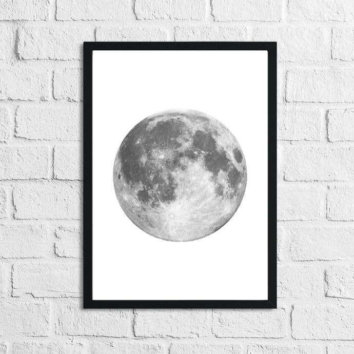 Full Moon Grey Bedroom Home Simple Decor Wall Print