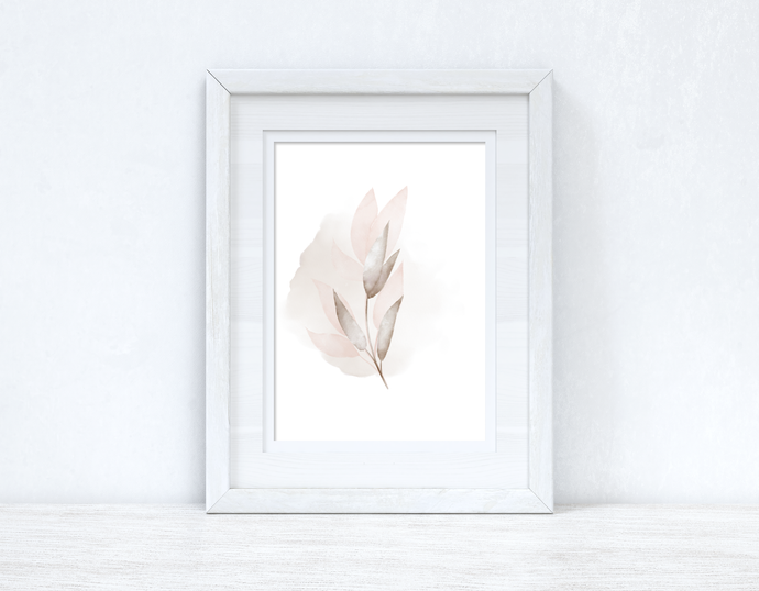 Natural Watercolour Leaves 6 Bedroom Home Wall Decor Print