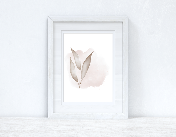 Natural Watercolour Leaves 7 Bedroom Home Wall Decor Print