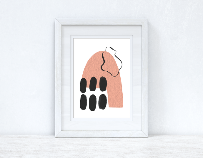 Peach Pink & Black Abstract 1 Colour Shapes Home Wall Decor Print