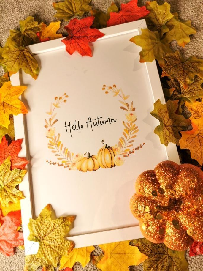 Hello Autumn Pumpkin Wreath Autumn Seasonal Wall Home Decor Print