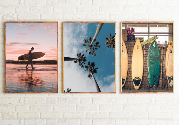 Surf Photography Room Simple Wall Decor 3 Print Set