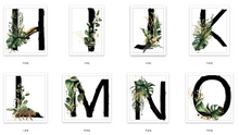Watercolour Jungle Black Green Golds Alphabet Letter Bedroom Home Wall Decor Print