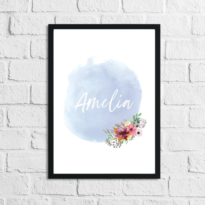 Personalised Blue Watercolour Name Children's Room Wall Decor Print