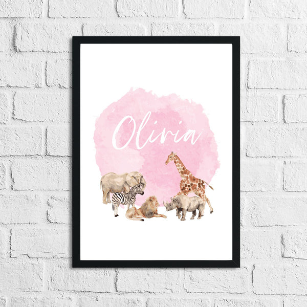 Personalised Zoo Animals Name Pink Children's Room Wall Decor Print