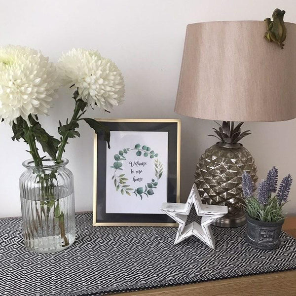 Welcome To Our Home Green Eucalyptus Wreath Wall Decor Print