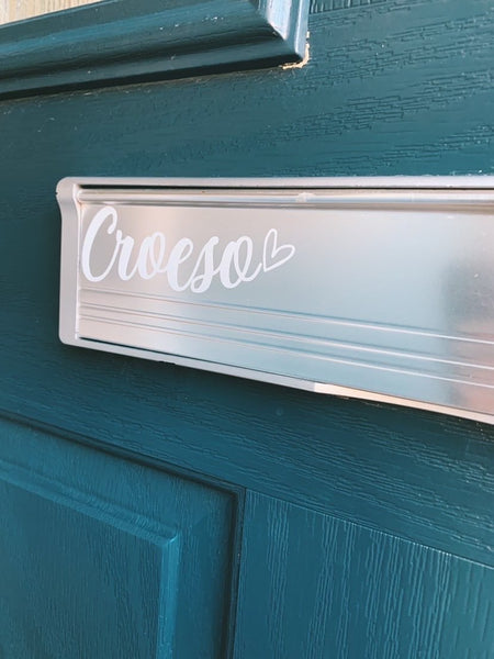 Croeso Welcome Welsh Heart Letter Box Door Decor House Sticker Label