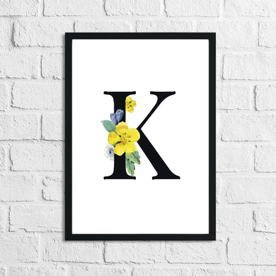 Personalised Black Initial Floral Children's Room Wall Decor Print