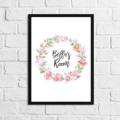 Personalised Floral Wreath Name Children's Room Wall Decor Print