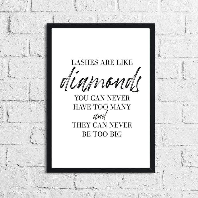 Lashes Are Like Diamonds Dressing Room Simple Wall Decor Print