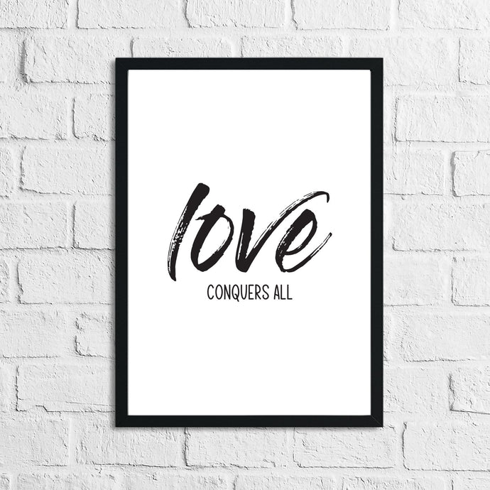 Love Conquers All Brush Wall Decor Bedroom Print
