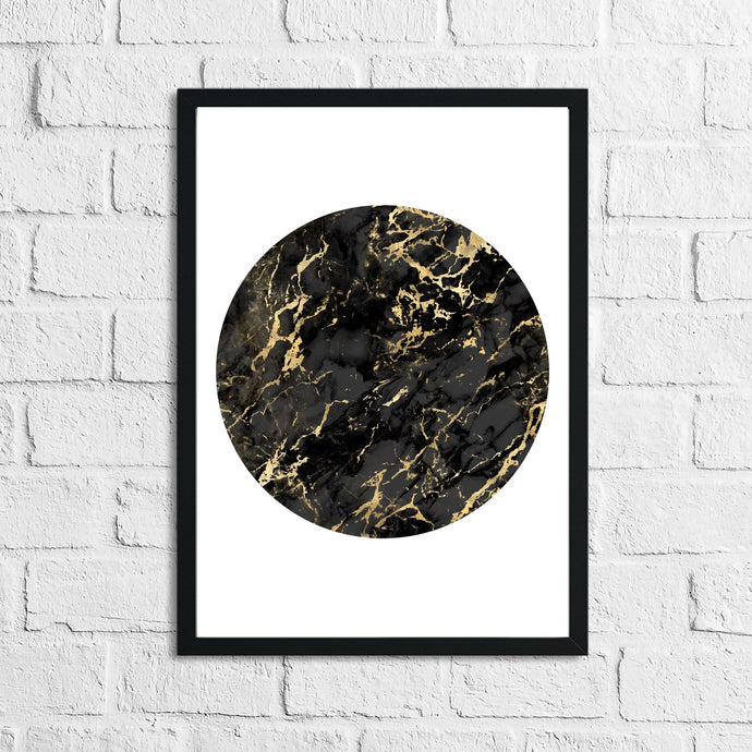 Black Gold Circle Home Simple Home Wall Decor Print