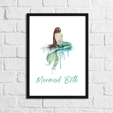 Personalised Mermaid Brunette Children's Room Wall Decor Print