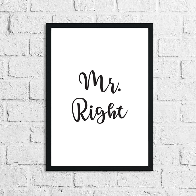 Mr Right Mrs Always Right Bedroom Simple Decor Set Of 2 Prints