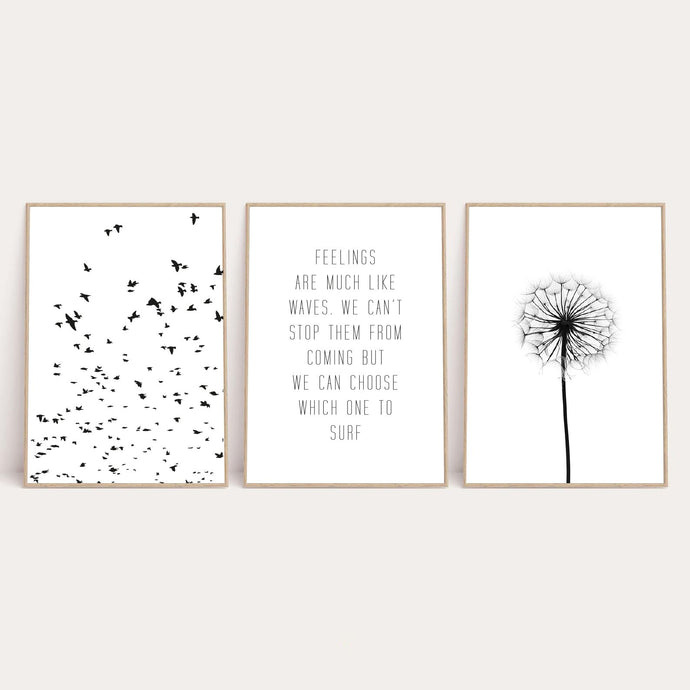 Feelings Are Much Like Waves Set Of 3 Bedroom Home Wall Decor Prints