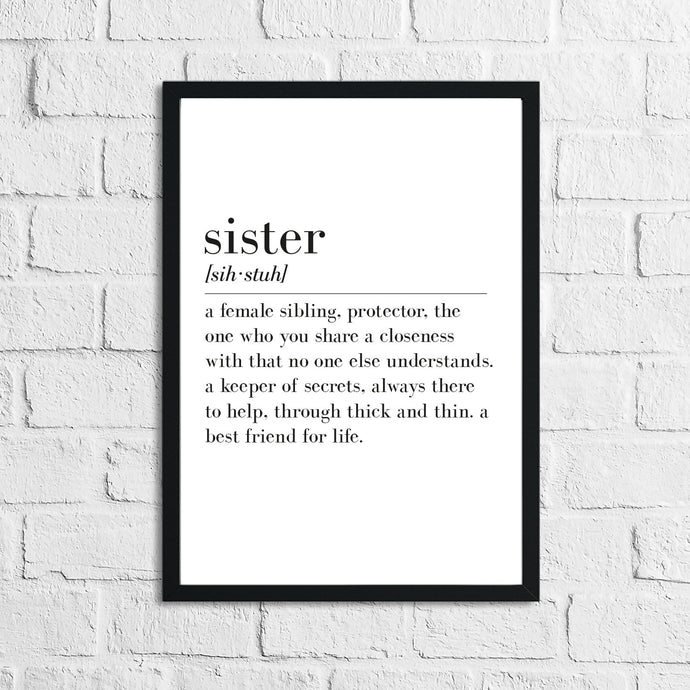 Sister Definition Home Simple Room Wall Decor Print