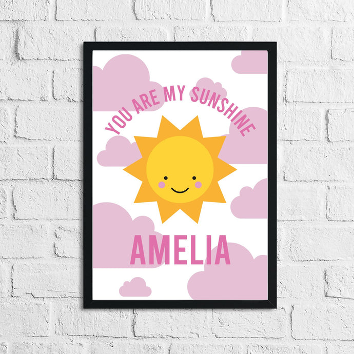 Personalised You Are My Sunshine Pink Children's Room Wall Decor Print